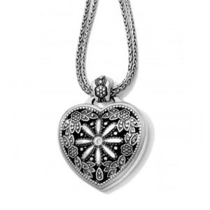 BRIGHTON Floral Heart Locket Silver Plate Necklace